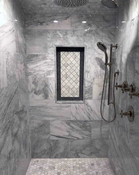 Beautiful Luxury Shower Niche Ideas Grey And White Tiles With Black Surround