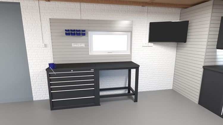 Beautiful Minimalist Garage Workbench Shelving Thegarageinteriordesigncompany