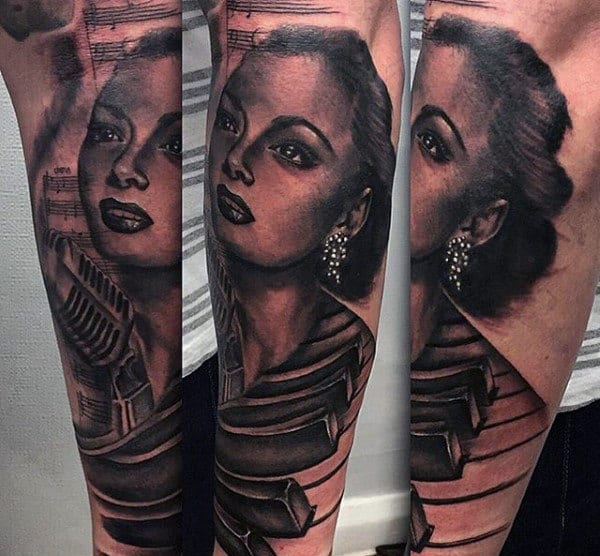 Beautiful Musical Lady Tattoo On Arms For Men