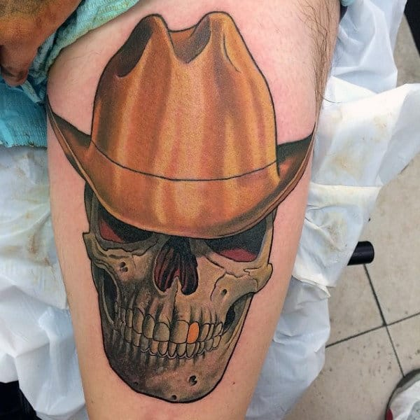 Skull With Cowboy Hat Tattoo 90 Cowboy Tattoos For ...