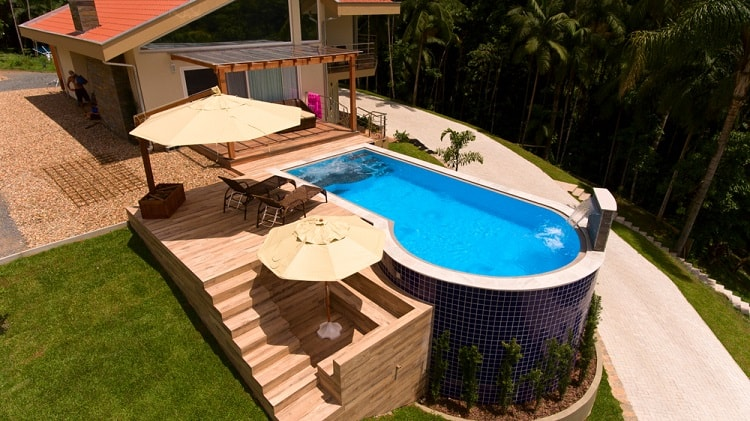 Beautiful Overflow Multilevel Above Ground Pool Deck