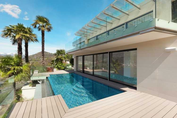 Beautiful Patio Above Ground Infinity Pool Deck