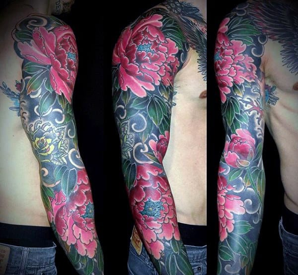 Beautiful Pink Florals Japanese Sleeve Tattoo For Men