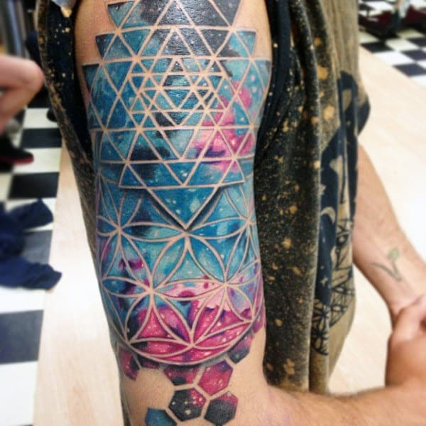Beautiful Pinkish Blue Honeycomb Tattoo Mens Upper Arms