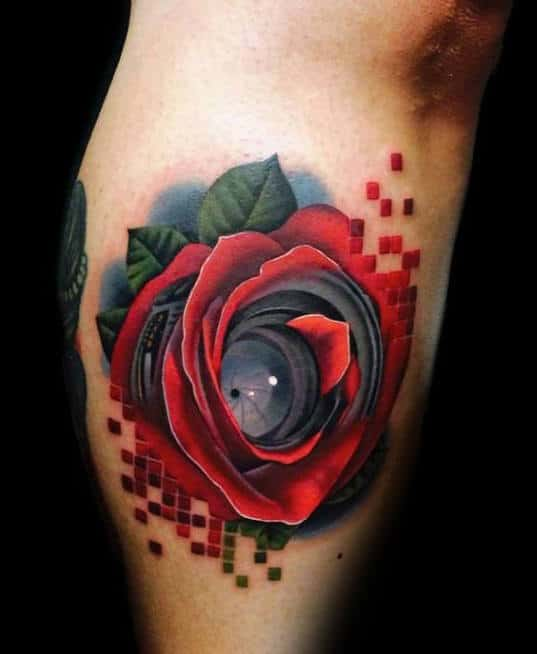 Beautiful Rose And Camera Lens Tattoo Forearms For Male