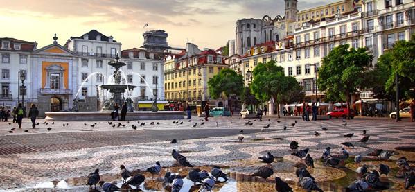 Beautiful Rossio Square Lisbon City Portugal