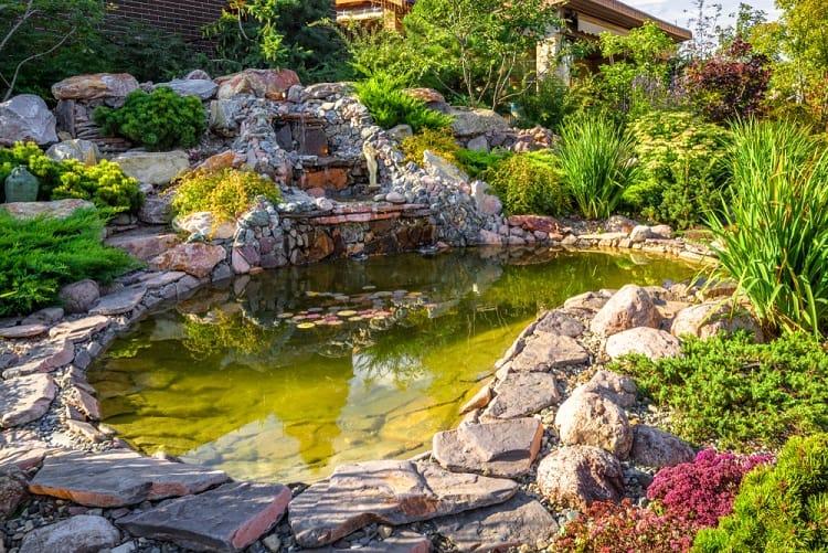 Beautiful Stone Landscaping Backyard Waterfall