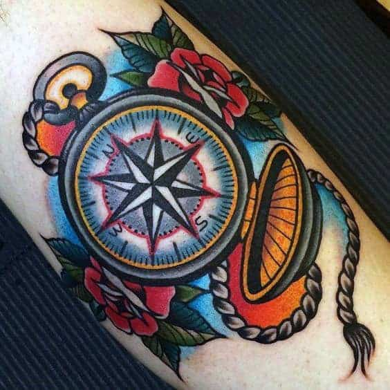 beautiful-traditional-compass-tattoo-for-men-forearms