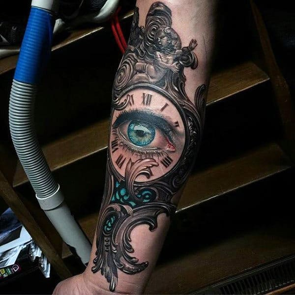 Beautiful Turquoise Eye In Ancient Clock Tattoo Guys Forearms