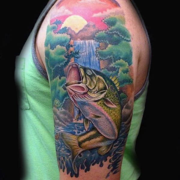 Beautiful Vibrant Half Sleeve Nature Tattoo With Bass For Guys