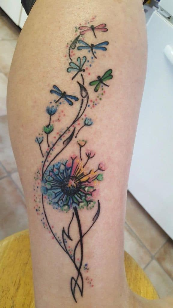 beautiful watercolor dandelion tattoo