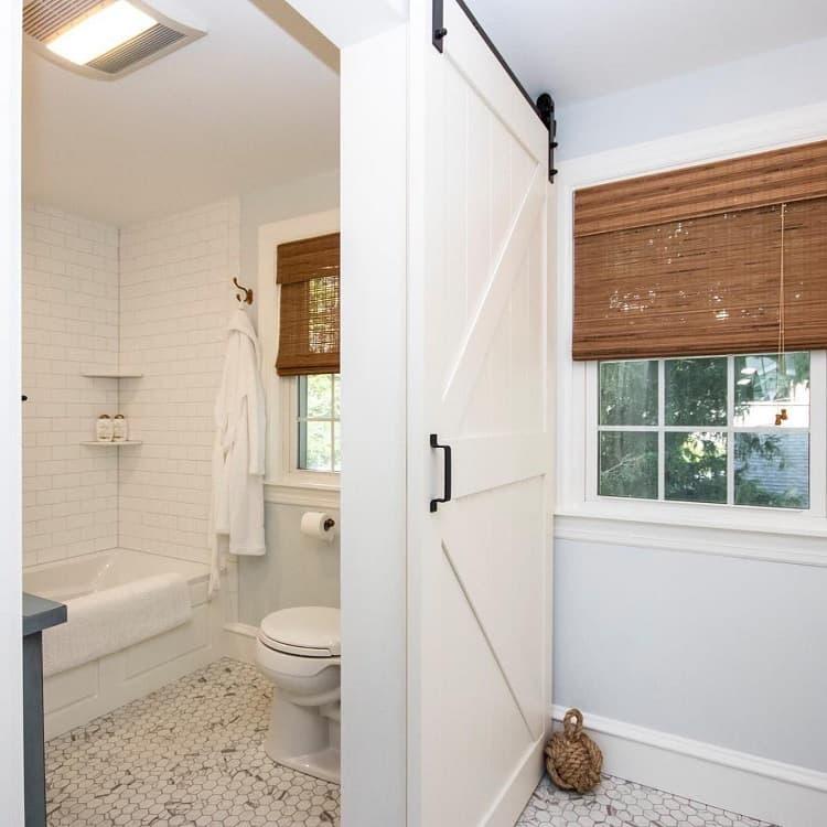 Beautiful White Bathroom Barn Door