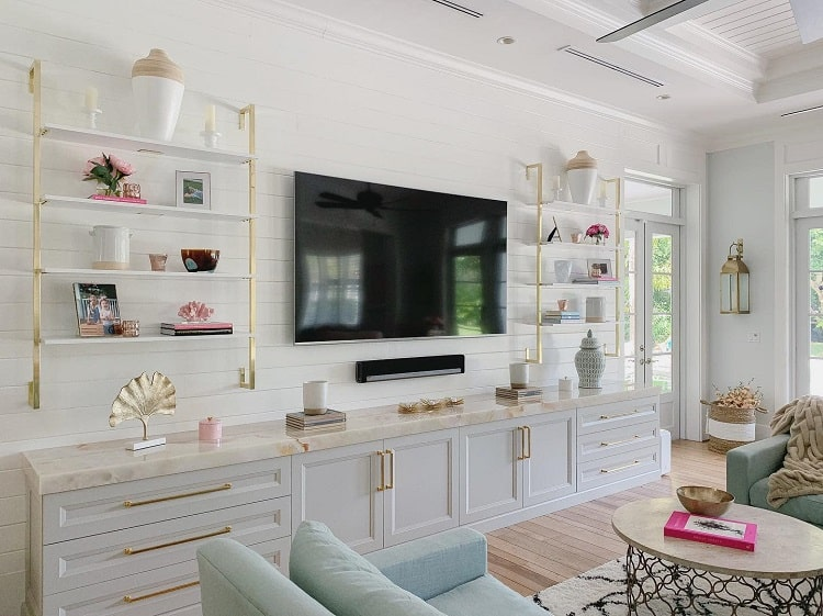 Beautiful White Floating Entertainment Center