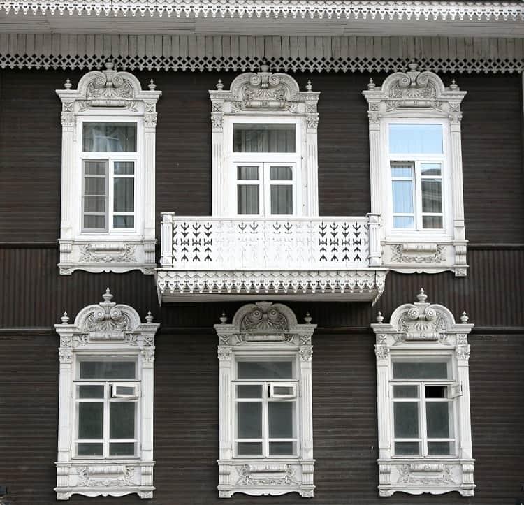 Beautiful White Ornate Exterior Window Trim