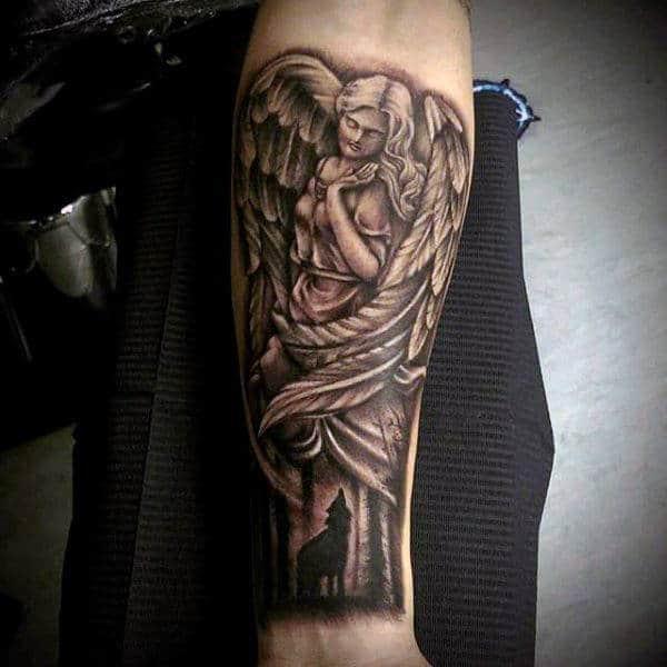 Beautiful Wings Guardian Angel And Screaming Fox Tattoo Guys Forearms