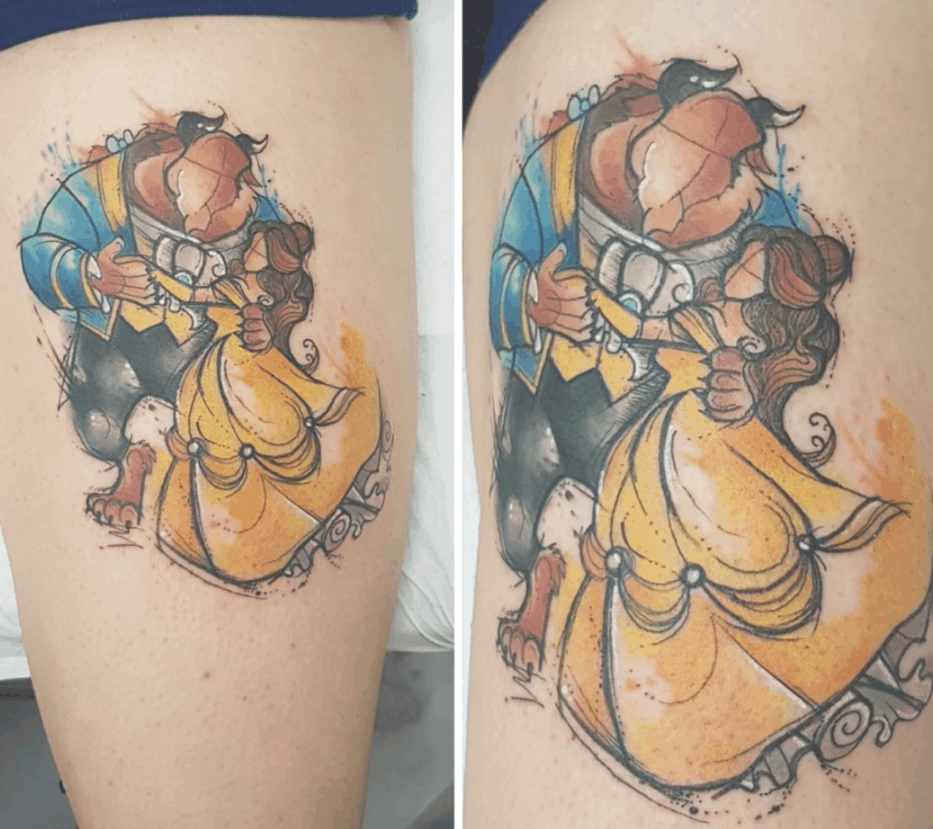 Beauty And The Beast Dancing Tattoo