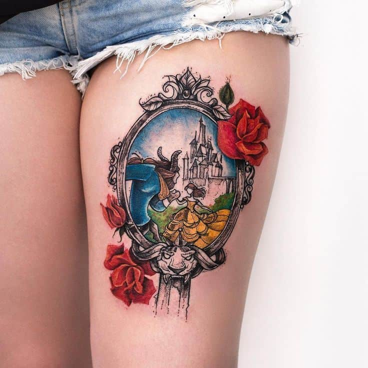 Beauty And The Beast Mirror Flower Tattoo