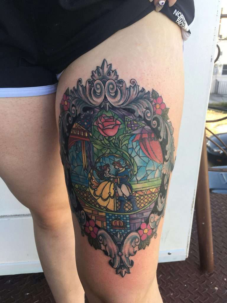 Beauty And The Beast Stained Glass Tattoo