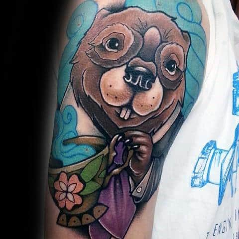 Beaver Guys Tattoos On Arm