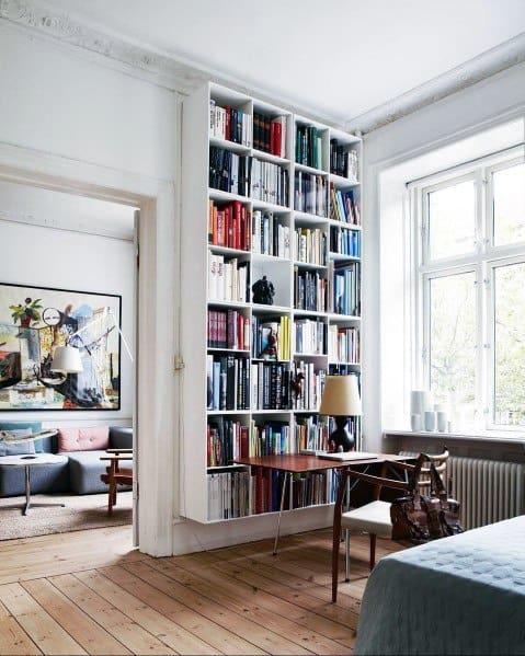 Bedroom Desk Floor To Ceiling Bookshelves