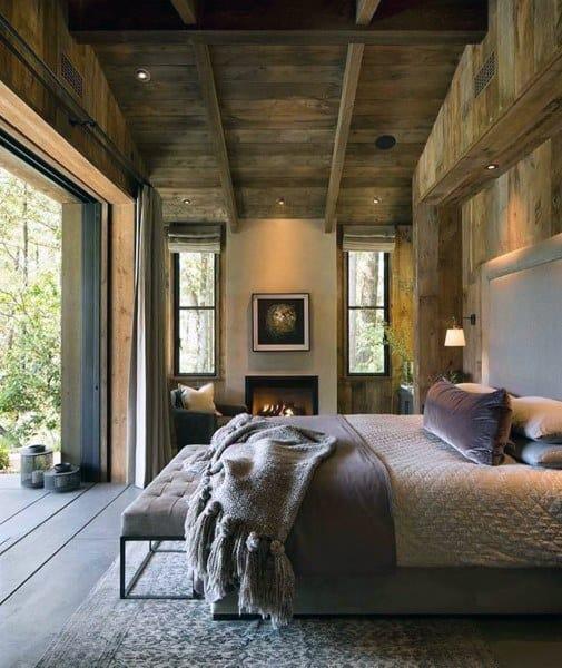 Chambre à coucher des Idées Avec une Décoration Rustique