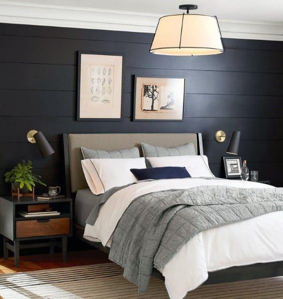 Bedroom In Black With Wood Slat Walls