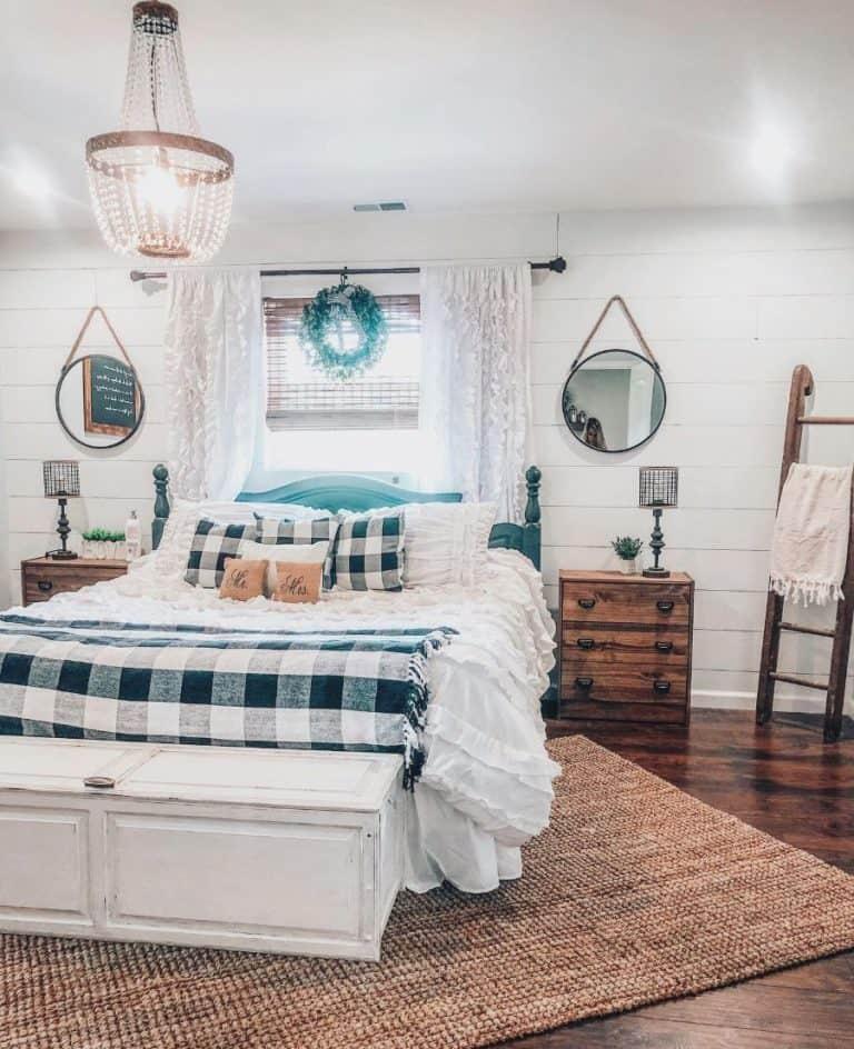 buffalo print farmhouse bedroom ideas