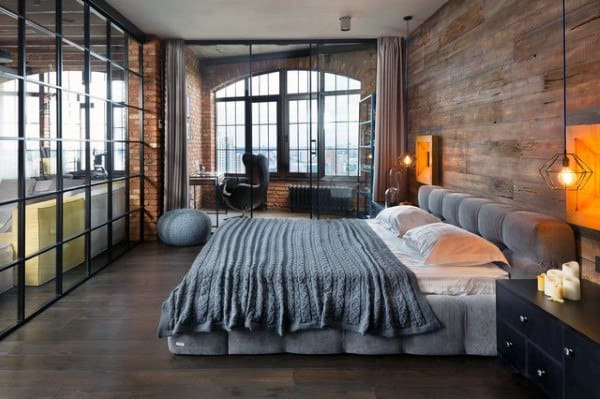 Bedroom With Glass Windows Loft Ideas