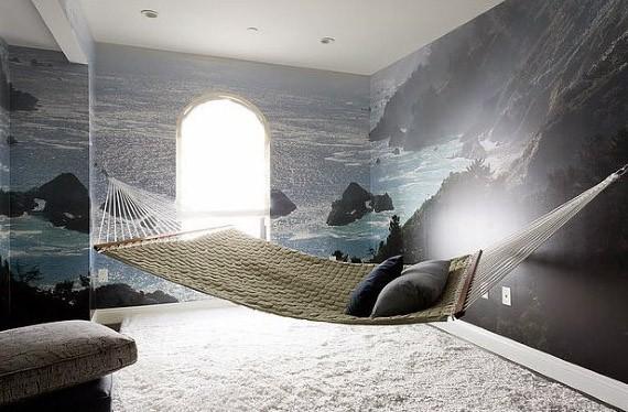 Bedroom With Graphic Wallpaper Indoor Hammock Ideas