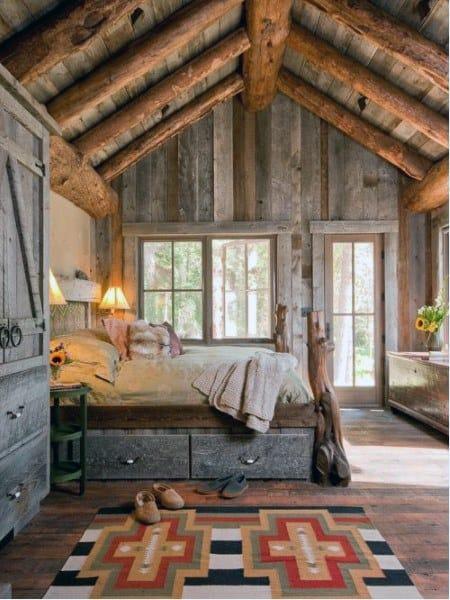 Chambre à coucher Avec un Design Rustique