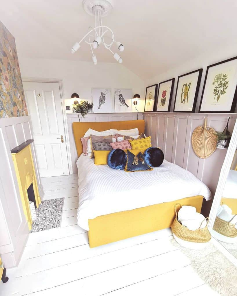 bedroom with yellow accent color prettyprospectcottage
