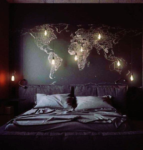 Bedrooms In Black With Glowing World Map Wall Art