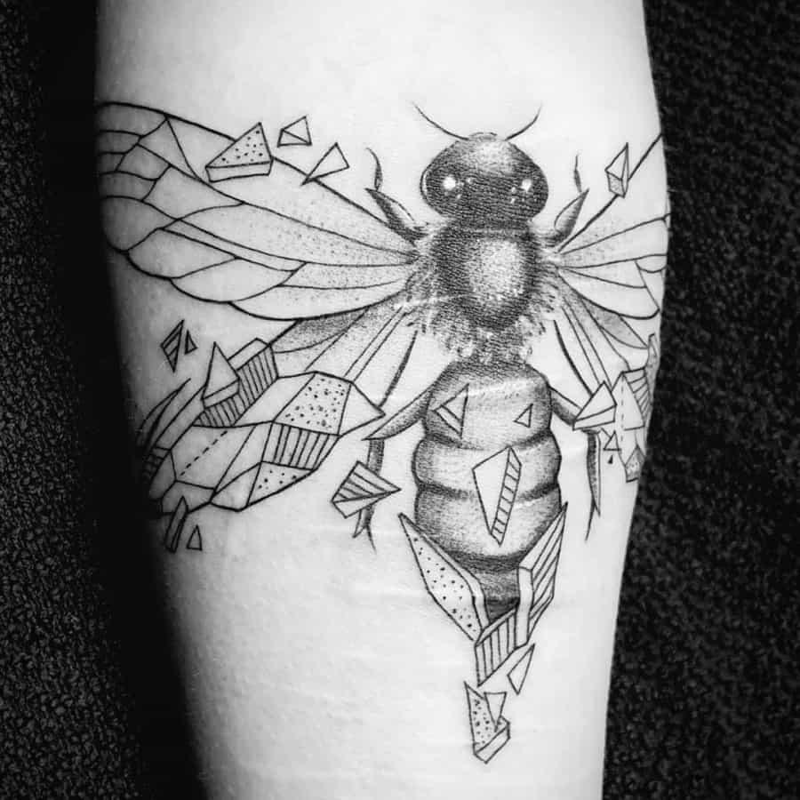 Bee Breaking Free Smashed Triangles Linework Geometric Tattoo