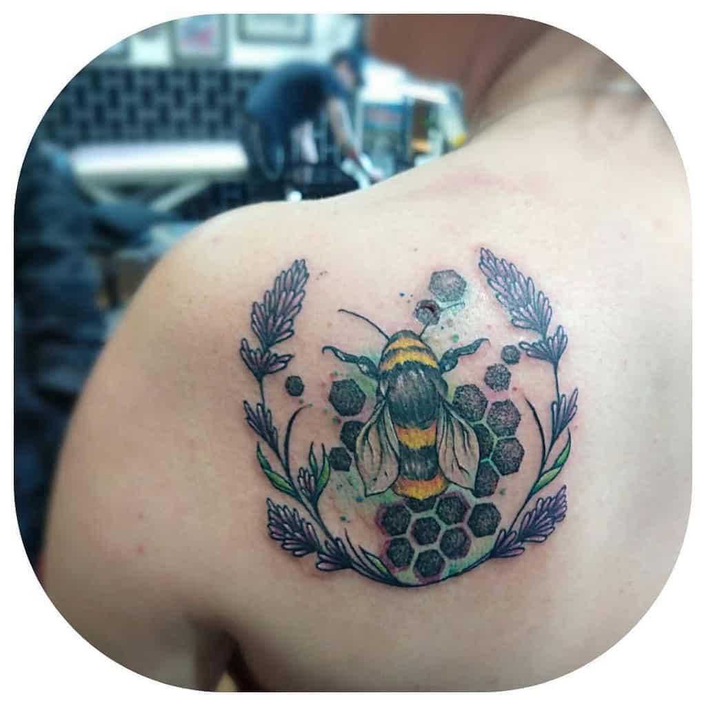Bee Honey Comb Lavander Tattoo