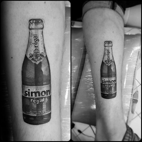 Beer Bottle 3d Leg Tattoos For Gentlemen