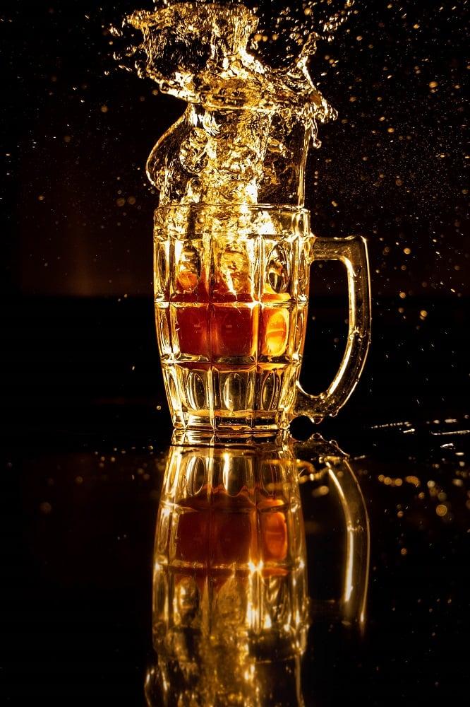 filled beer cup