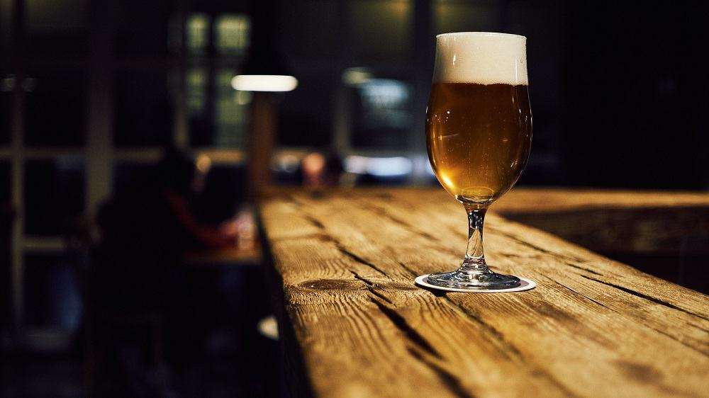 beer glass focus on table