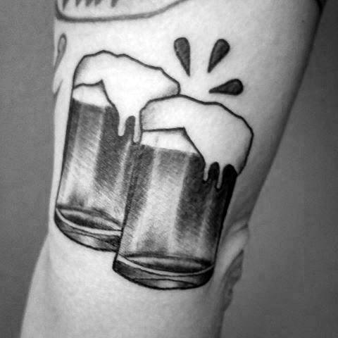 Beer Mugs Emoji Arm Male Tattoo Designs