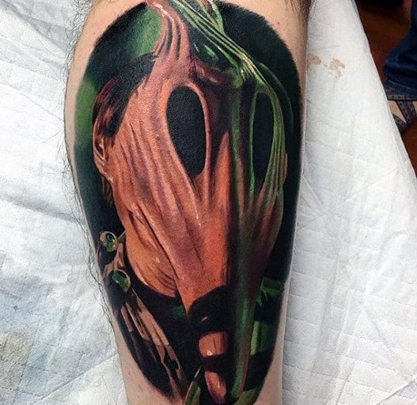 Beetlejuice Mask Mens Leg Tattoo Design Inspiration