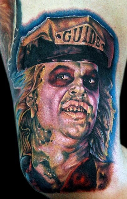 Beetlejuice Wearing Guide Hat Mens Arm Tattoos