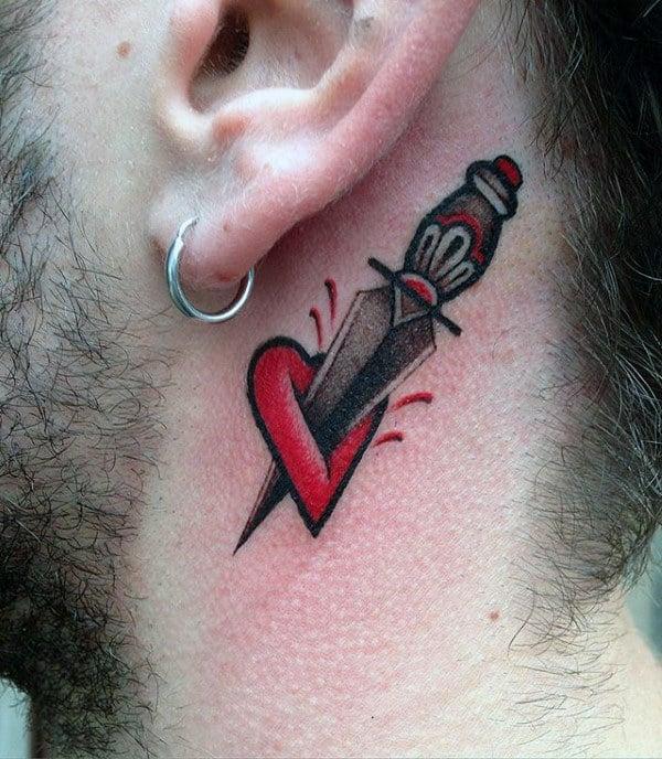 Behind The Ear Dagger With Heart Mens Traditional Tattoos