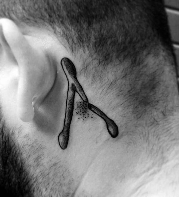 Behind The Ear Guys Wishbone Tattoo Deisgns