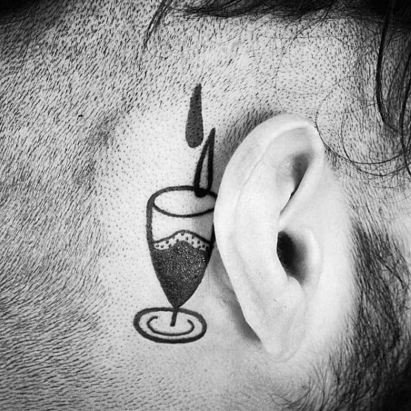 Behind The Ear Wine Tattoo Design Ideas For Males
