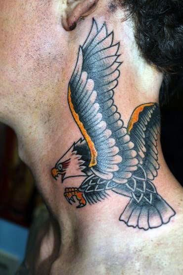 Behind The Neck Eagle Tattoos