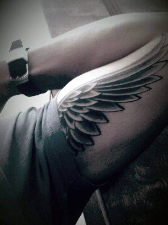 Bicep Upper Arm Angel Tattoos For Men