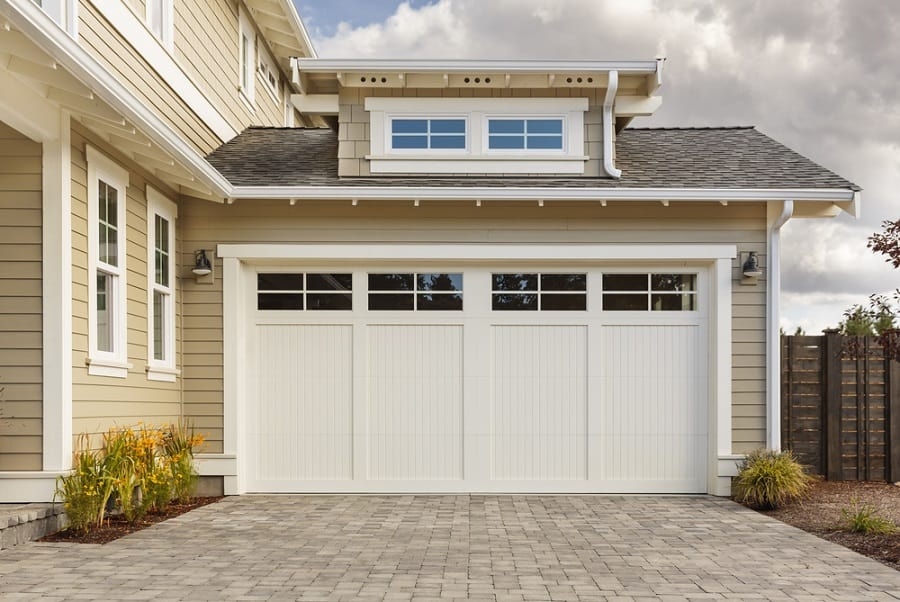 Wood With Windows Designs Garage Door For Homes With Stone Cladding