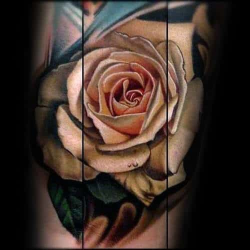 Beige Realistic Rose Mens Arm Tattoos
