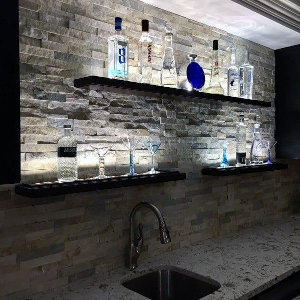 Beige Stacked Stone Backsplash Ideas For Home Bar