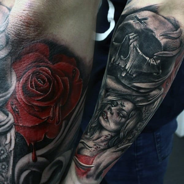 Below Elbow Vampires Tattoos For Men With Red Rose And Black Ink