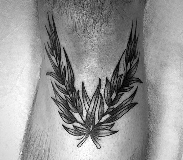Below The Knee Leg Laurel Wreath Tattoo Ideas On Guys